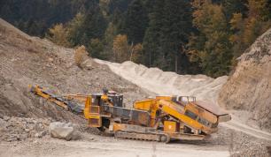 Truck Digging Rocks in a Quarry
