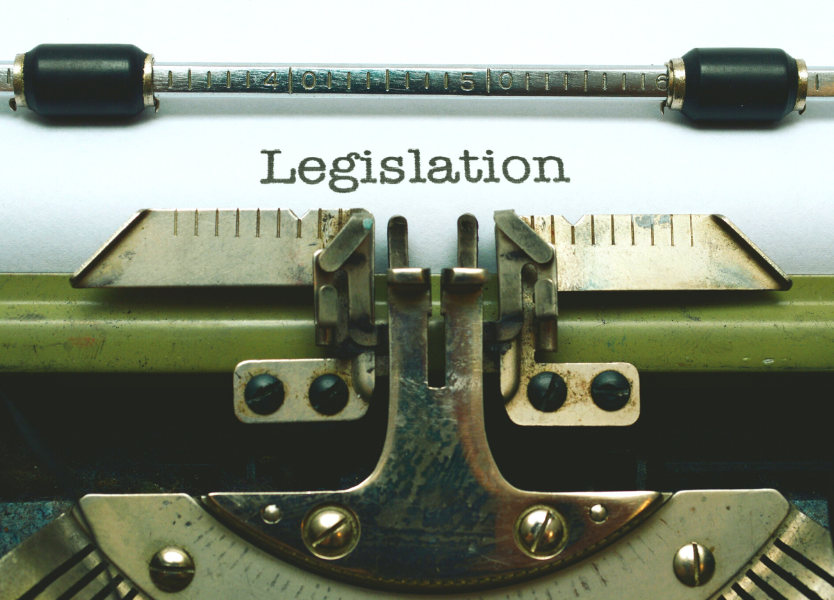 Typewriter showing the word legislation written on a piece of paper